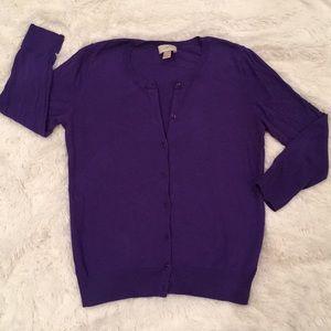 Purple Crystal Button 3/4 Sleeve Cardigan, M